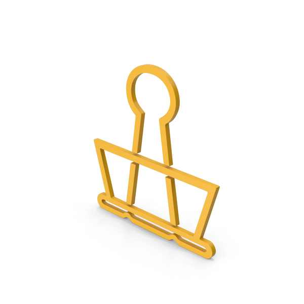 Clips: Symbol Binder Clip Yellow PNG & PSD Images