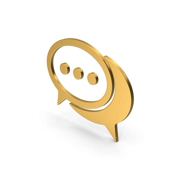 Computer Icon: Symbol Chatting Gold PNG & PSD Images
