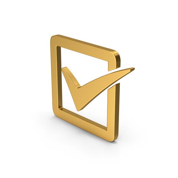 Mark: Symbol Check Box Gold PNG & PSD Images
