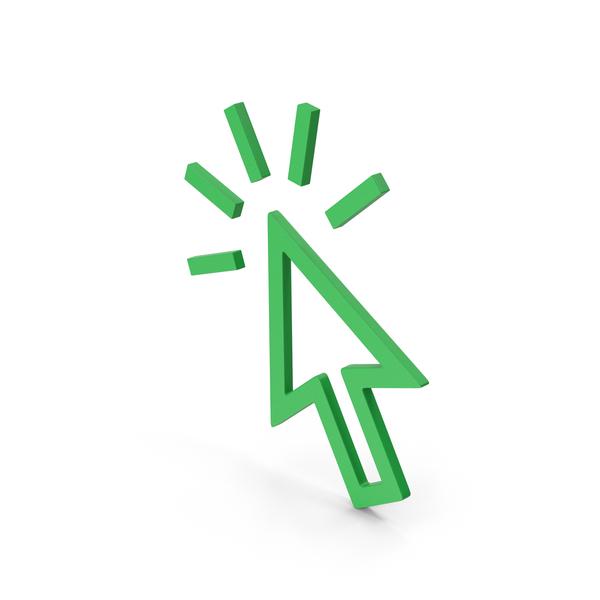 Cursor: Symbol Click Green PNG & PSD Images
