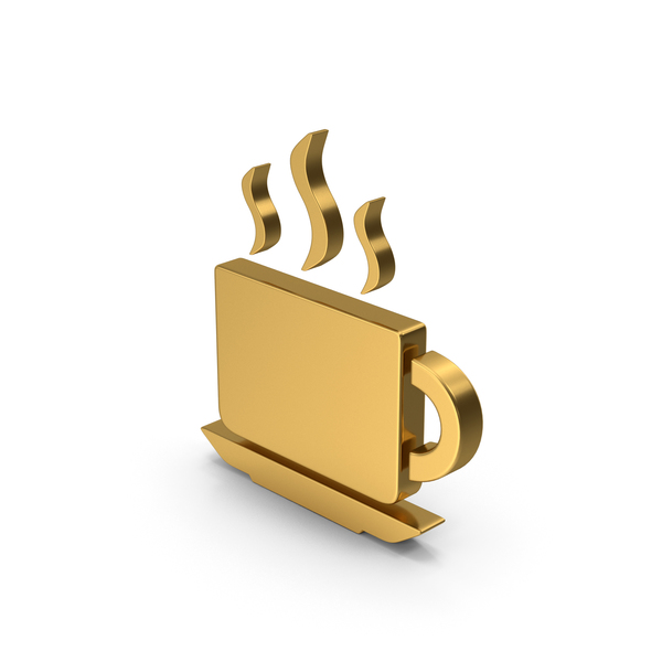 Computer Icon: Symbol Coffee Cup Gold PNG & PSD Images