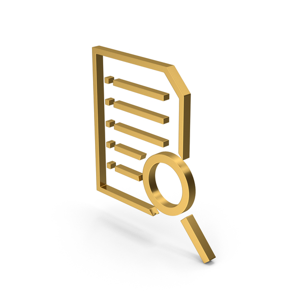 File Holder: Symbol Document With Magnifying Glass Gold PNG & PSD Images