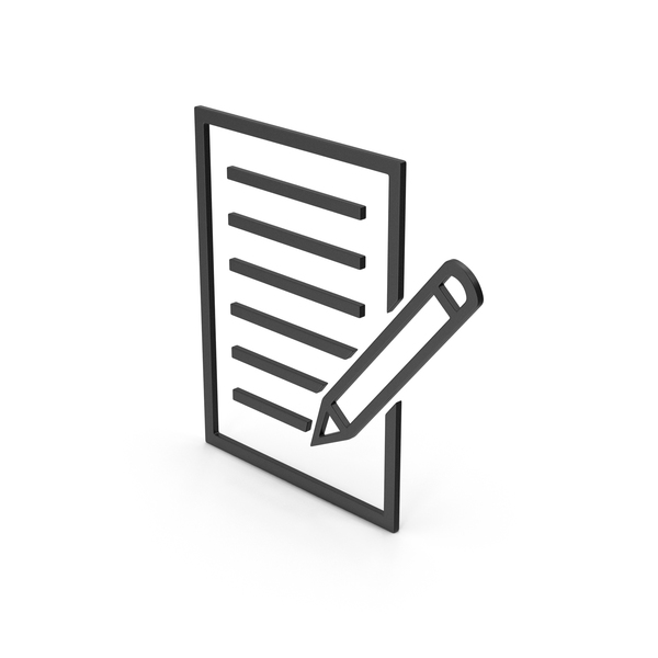 Industrial Equipment: Symbol Document With Pen Black PNG & PSD Images