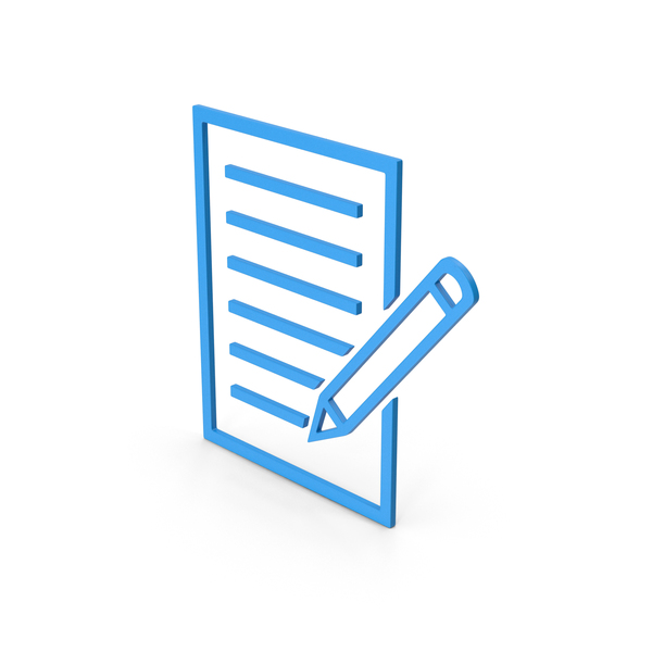 Industrial Equipment: Symbol Document With Pen Blue PNG & PSD Images