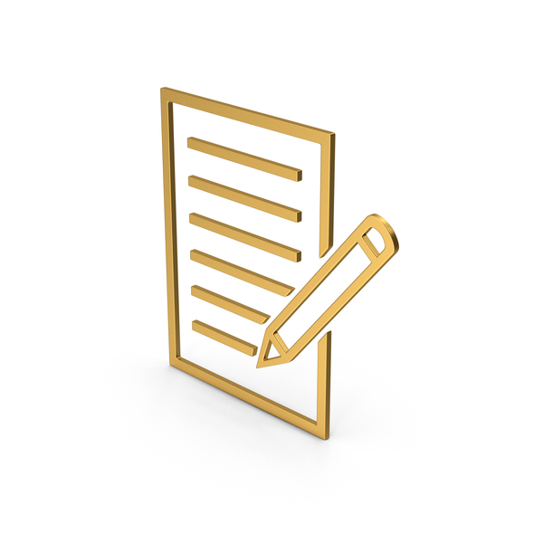 Industrial Equipment: Symbol Document With Pen Gold PNG & PSD Images