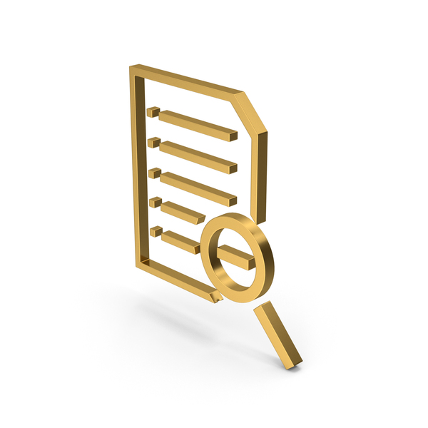 File Holder: Symbol Document Zoom Out Gold PNG & PSD Images