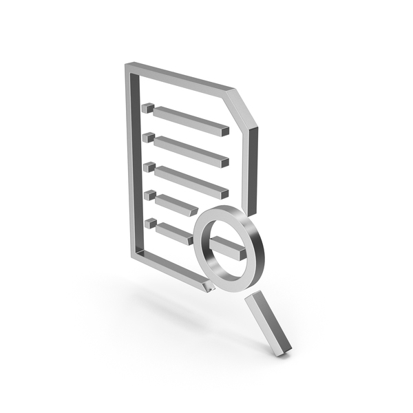 File Holder: Symbol Document Zoom Out Silver PNG & PSD Images