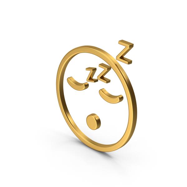 Computer Icon: Symbol Emoji Sleeping Gold PNG & PSD Images