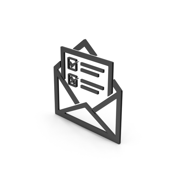 Computer Icon: Symbol Envelope With Checklist Black PNG & PSD Images