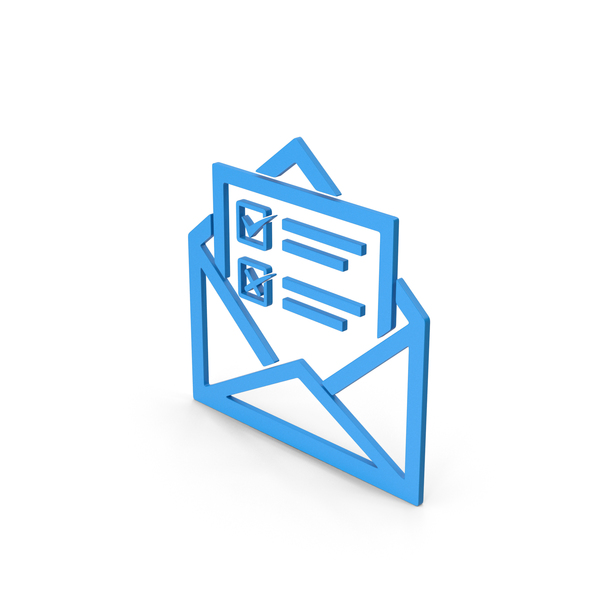 Computer Icon: Symbol Envelope With Checklist Blue PNG & PSD Images