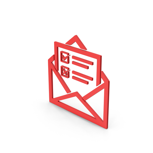 Computer Icon: Symbol Envelope With Checklist Red PNG & PSD Images