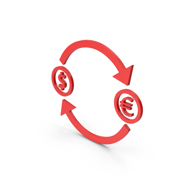 Symbols: Symbol Exchange Dollar With Euro Red PNG & PSD Images