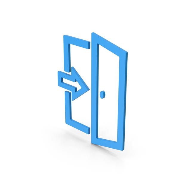 Sign: Symbol Exit Blue PNG & PSD Images
