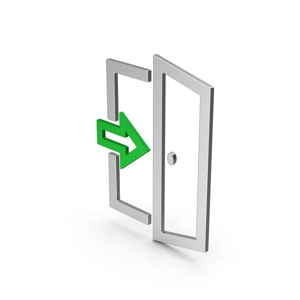 Sign: Symbol Exit Colored Metallic PNG & PSD Images