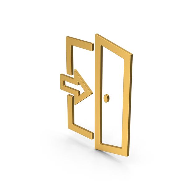 Sign: Symbol Exit Gold PNG & PSD Images