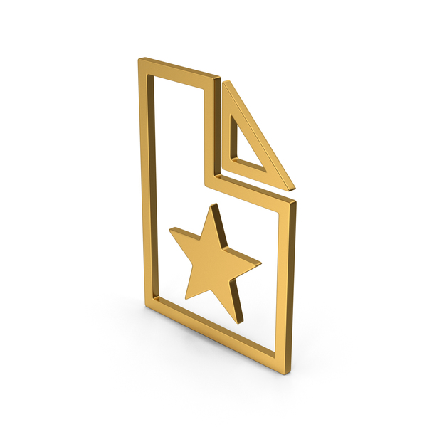 Computer Icon: Symbol Favorite File Gold PNG & PSD Images