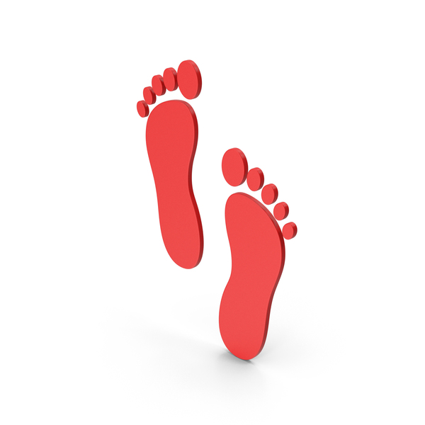 Computer Icon: Symbol Footprint Red PNG & PSD Images