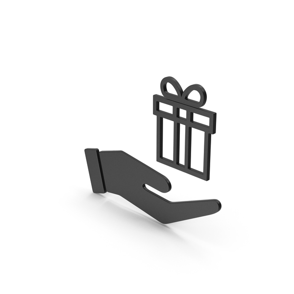 Computer Icon: Symbol Hand Holding Gift Black PNG & PSD Images