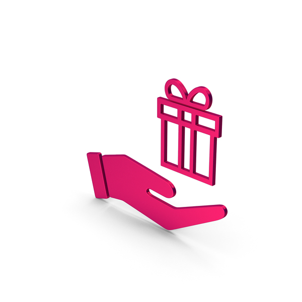 Computer Icon: Symbol Hand Holding Gift Metallic PNG & PSD Images