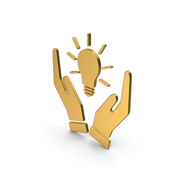 Lightbulb: Symbol Hands Holding Light Bulb Gold PNG & PSD Images