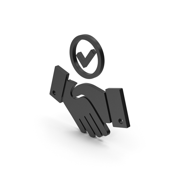 Computer Icon: Symbol Handshake With Checkmark Black PNG & PSD Images
