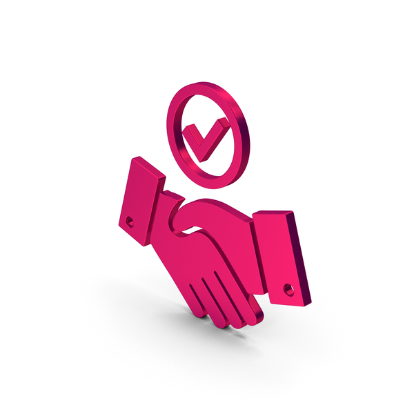 Computer Icon: Symbol Handshake With Checkmark Metallic PNG & PSD Images