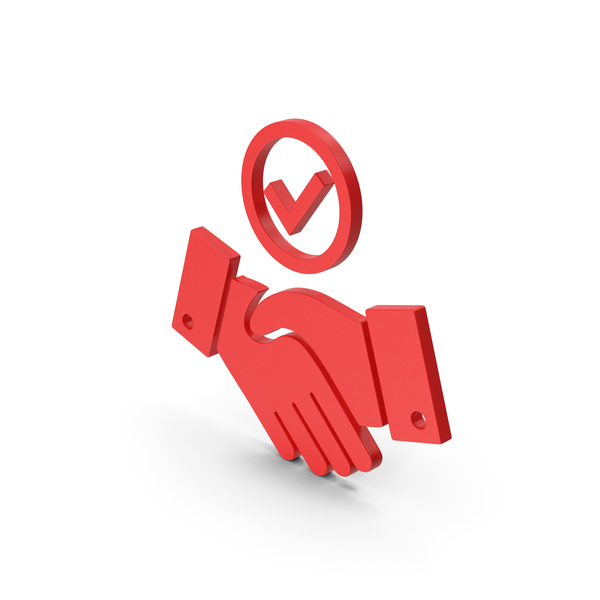 Computer Icon: Symbol Handshake With Checkmark Red PNG & PSD Images