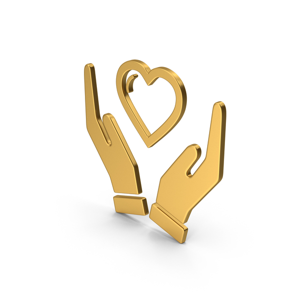 Heart Shaped Candy: Symbol Heart In Hands Gold PNG & PSD Images