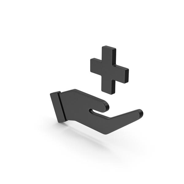 Caduceus: Symbol Medical Cross In Hand Black PNG & PSD Images