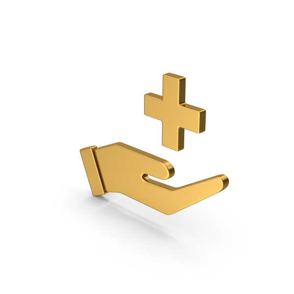 Caduceus: Symbol Medical Cross In Hand Gold PNG & PSD Images