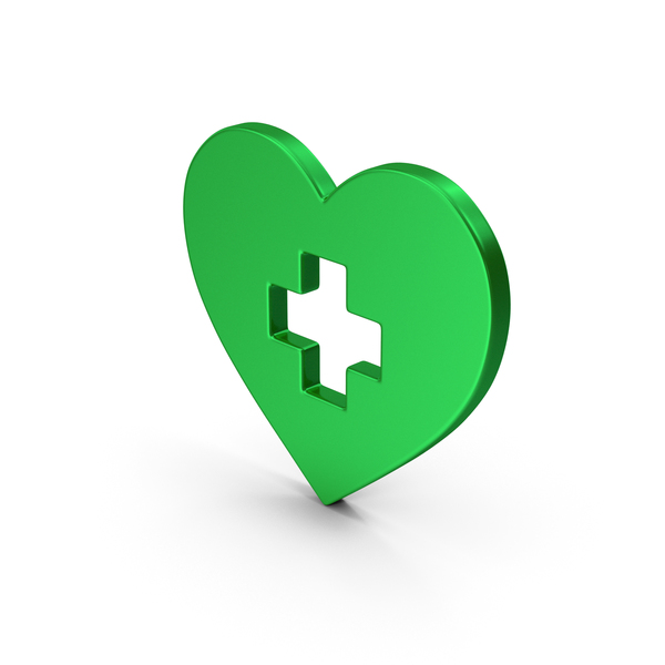 Computer Icon: Symbol Medical Heart Green Metallic PNG & PSD Images