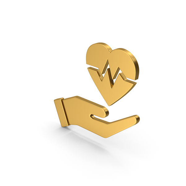 Heart Shaped Candy: Symbol Medical Heart In Hand Gold PNG & PSD Images