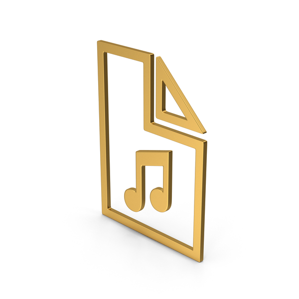 Computer Icon: Symbol Music File Gold PNG & PSD Images