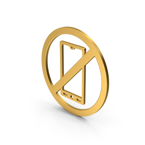 Computer Icon: Symbol No Mobile Gold PNG & PSD Images