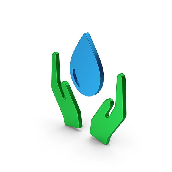 Symbols: Symbol Save Water Colored Metallic PNG & PSD Images