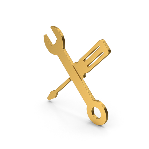 Symbols: Symbol Screwdriver And Wrench Gold PNG & PSD Images