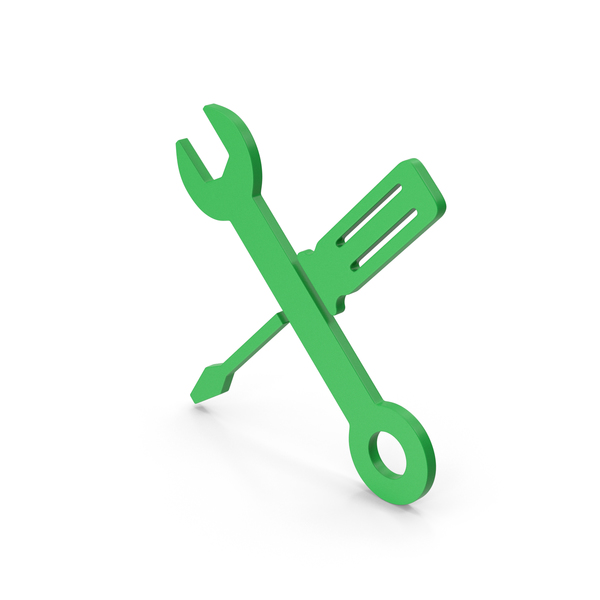 Logo: Symbol Screwdriver And Wrench Green PNG & PSD Images