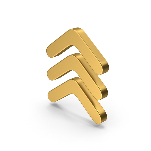 Directional Arrow: Symbol Three Arrows Gold PNG & PSD Images