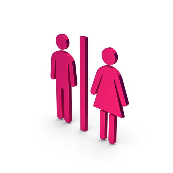 Toilet Sign: Symbol WC Metallic PNG & PSD Images
