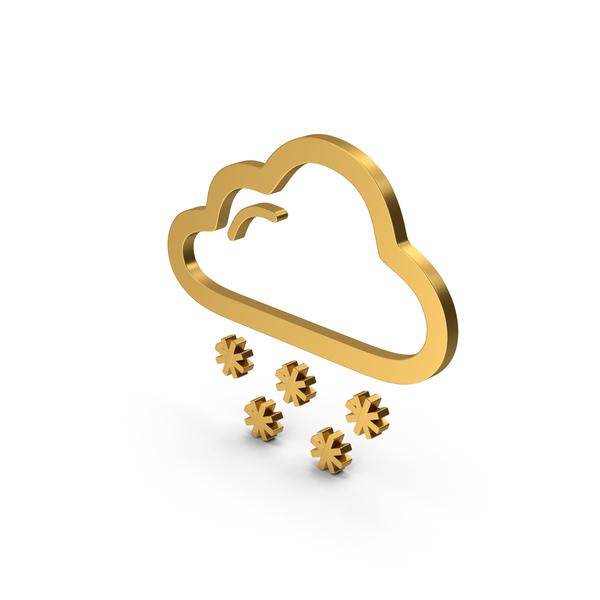 Meteorology Symbols: Symbol Weather Snowing Gold PNG & PSD Images