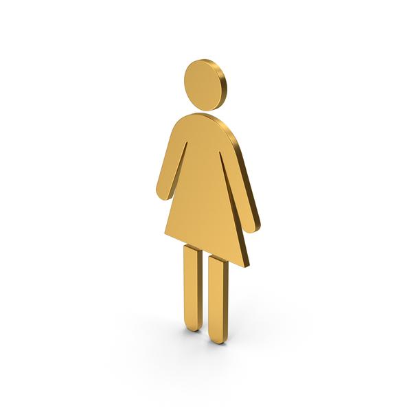 Sign: Symbol Women Toilet Gold PNG & PSD Images