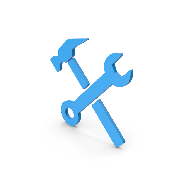 Symbols: Symbol Wrench And Hammer Blue PNG & PSD Images