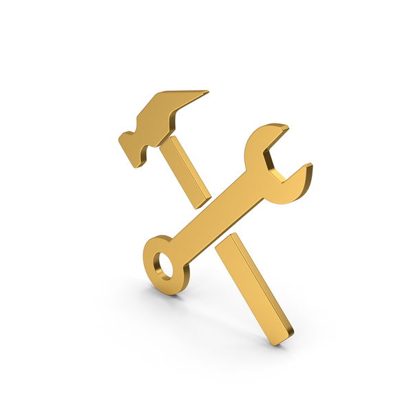 Symbols: Symbol Wrench And Hammer Gold PNG & PSD Images