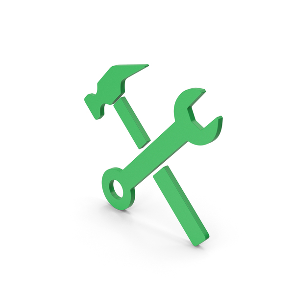 Symbols: Symbol Wrench And Hammer Green PNG & PSD Images