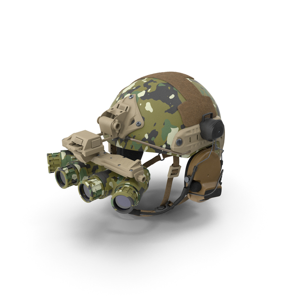 Tactical Helmet Digital Woodland Camo with Fur PNG & PSD Images