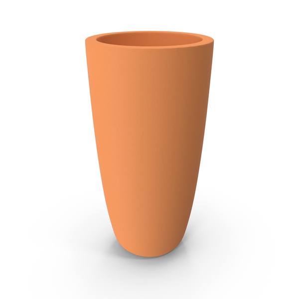 Planter: Tall Terracotta Pot PNG & PSD Images