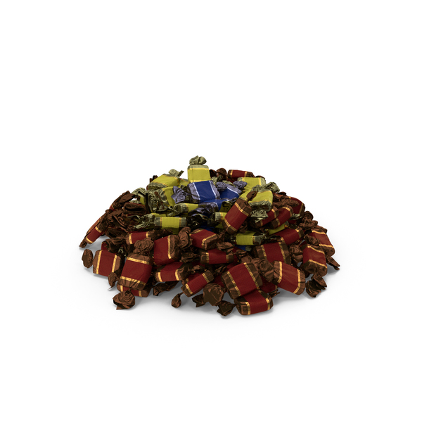 Tapered Pile of Wrapped Toffee Candy PNG & PSD Images