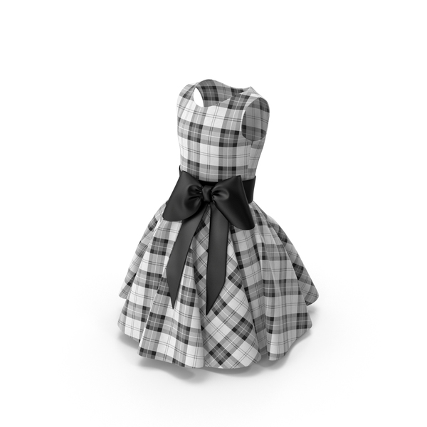 Tartan Dress with Bow PNG & PSD Images