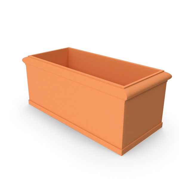 Terracotta Box Planter With Molding PNG & PSD Images