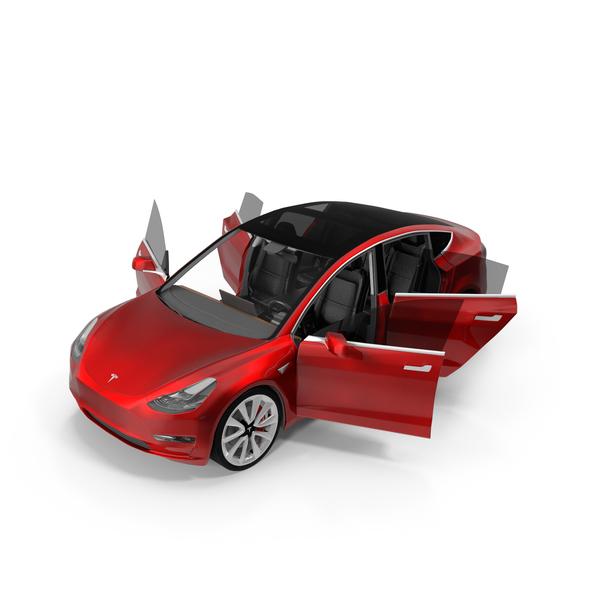 Car: Tesla Model 3 Opened Doors PNG & PSD Images